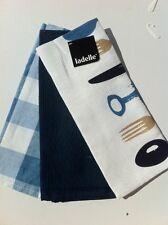 Blue Knife, Fork, Spoon Tea Towel Set of 3 100% Cotton