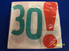 Woohoo 30! White Over the Hill Adult 30th Birthday Party Paper Luncheon Napkins