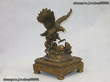Chinese Bronze Copper Feng shui Spread its wings Fly Eagle catch fish Statue