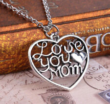 Fashion Love Mom you Silver/Gold Heart Crystal Necklace/pendant Simple Gift