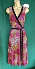 New MONSOON Uk 8 10 Pink Black Orange KEISA Stretch Jersey Fit&Flare Midi DRESS