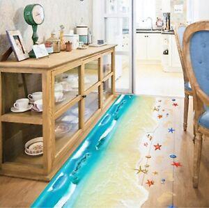 Starfish Footprint Wall Stickers Creative Beach Bathroom Floor Stickers Decor