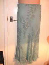 LADIES ELEGANT FLOATY GREEN SILK SKIRT FLORAL SEQUIN DESIGN STRETCH WAIST M&S 10