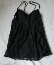SEXY BLACK LACE BABY DOLL WITH THONGS NEW WITHOUT TAGS SIZE L