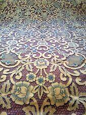 "Elaborate Blue Madeira Cutwork Embroidered Linen Tablecloth & 12 Napkins 98""x65"""