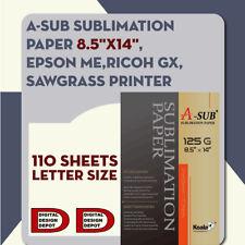 A-SUB Sublimation Paper 8.5''x14'',110 sheet, EPSON ME,RICOH GX,SAWGRASS
