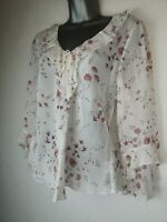 Select 14 White Pink V Neck 3/4 Sleeve light sheer fitted Summer Blouse Top