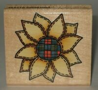"""Rubber Stampede Rubber Stamp Country Stitched Sunflower Wood Mount 2.25"""" x 2.25"""""""
