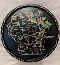 Vtg Wisconsin Souvenir Tray Toleware? Hand Painted Bar Beverage Black Pink Gold
