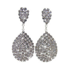Wedding Bling Elegant Rhinestone Water Drop Dangle Earrings Studs for Women