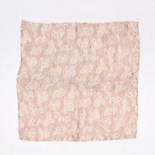 Hand Rolled Mens Linen Silk Pocket Square Taupe Reversible Paisley Print Italy