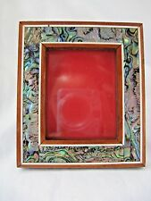 "Egyptian Wood Paua Shell Inlaid Picture Frame Handmade Unique 4.5"" X 3.75"" # 635"