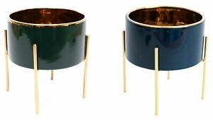 Gold Lined Ceramic Cache Plant Pot Planter With Stand
