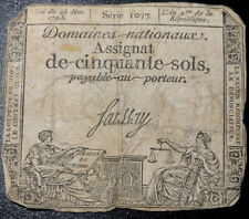 1793 (Year 2) 50 Sols FRANCE Domaines Nationaux Assignat Signed Faussay 1097