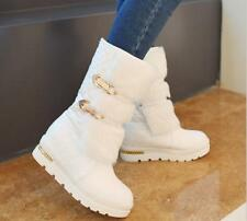 Women's Round Toe Faux Fur Snow Mid-calf Boots Fashion Buckle Winter Warm Shoes