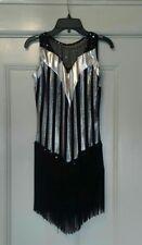 Leo's Dancewear Black and Silver Fringe Dress Adult XL