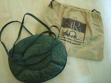 ECHT Straußenleder Tasche grün oval AR Alfred ROTH edel LUXUS PUR