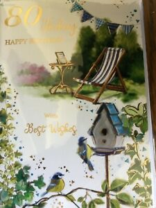 Male 80th  birthday card by Gold line