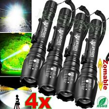 4PC Tactical Police 350000Lumen T6 5Modes LED Flashlight Aluminum Torch Zoomable