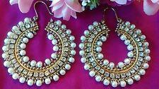 BIG Pearl Gold Hoop Bollywood Bigiotteria Orecchini Gold UK Venditore