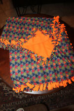 "Fleece No Sew Blanket 52"" X 58"" Triangles Theme"