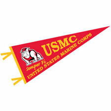 "US Marines Corps Wool 12"" x 30"" Raised Printed Pennant"