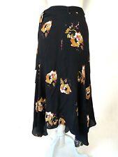 A.L.C. Silk Skirt Black Floral Print Size 8