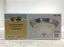 Hampton Bay 13 in. 2-Light Brushed Nickel Flush Mount with Clear Glass Shade