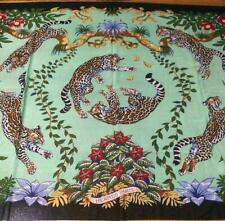 Hermes Cotton Pareo Shawl Stole Scarf Green Animal Botanical Woman 68 x 58 in