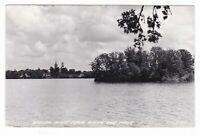 1957 RPPC WASECA MN FROM WHITE OAK PARK LAKE VINTAGE POSTCARD MINNESOTA CHURCH !