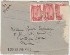 MAIL SERVICE SUSPENDED COVER to FRANCE TransAtlantic 30c 1/2oz rt Canada cover