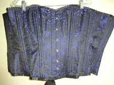 Womens Blue Brocade Corset Black 40 L XL Steampunk Goth Gothic Lace Up Bustier