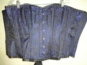 Womens Blue Brocade Corset Black 40 L XL Steampunk Goth Gothic Lace Up Bustier