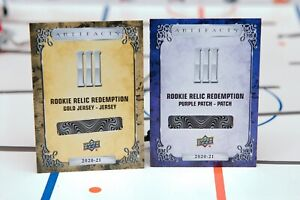 2-Lot 2020-21 UD Artifacts Purple/Gold Relic Rookie Redemption III - Romanov