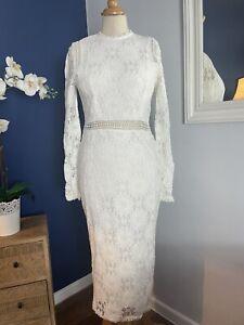Gorgeous White Lace Crochet Straight Long High Neck Dress Size 12 Wedding