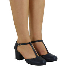 WOMENS LADIES T-BAR BUCKLE STRAP OFFICE WORK COMFY LOW MID HEEL COURT SHOES SIZE