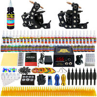 Complete Tattoo Kit  Solong Tattoo 2 Machine Guns Power Box Supply 54 Ink TK256