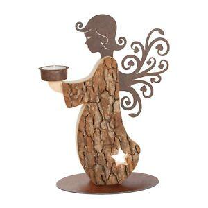 Ornament Engel aus Holz / Rinde mit Teelicht (Weihnachten)