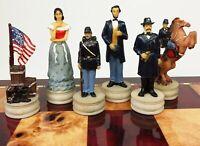 US AMERICAN CIVIL WAR Queens Set of Chess Men Pieces - NO BOARD