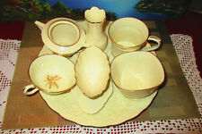 9-pc Lot of Ivory & Gold Lenox - Plate, Scalloped-edge Candy Dishes, Vase & More