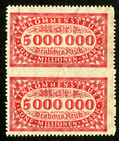 Germany Stamps VF MH 5,000,000 Revenue Imperf Pair RARE