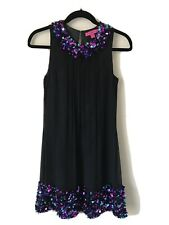 Betsey Johnson Vintage 60s Style Mod A Line  Sequin Beaded Silk Dress Black 2 XS