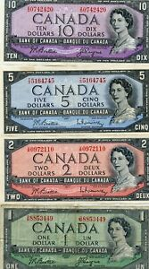 CANADA $10, $5, $2 & $1 1954 BANK OF CANADA PAPER MONEY NOTES!!!..STARTS @ 2.99