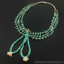 SANTO DOMINGO TURQUOISE MOTHER OF PEARL & SHELL NECKLACE WITH JOCLAS