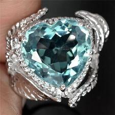 925 Silver Huge 6.4ct Women Man Fashion Ring Aquamarine  Wedding Ring Size 7