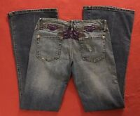 Rue 21 Purple Embroidered Low Rise Flare Stretch Blue Jeans Womens Size 3/4