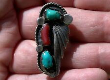 Large Old Pawn Handmade Navajo Sterling Silver & Turquoise & Coral Ring