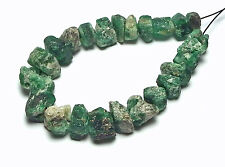 24 pcs GREEN EMERALD 8-10mm Nugget Beads NATURAL /N11