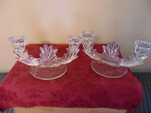 Vintage Clear Glass Double Arm Candle Holders Pair