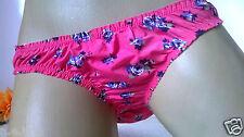 Silky Pink Buttery Liquid Satiny Bikini Panties Knickers   Rose Floral   8 XS